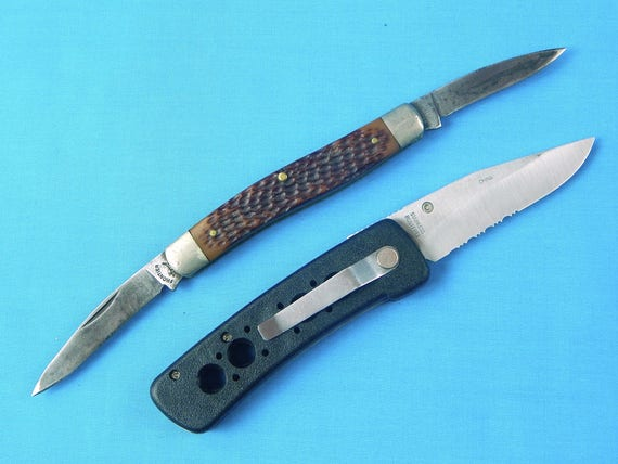 Set of 2 Vintage US Imperial Frontier 2 Blade & Frost Cutlery Folding  Pocket Knife Camping Collectable Gift for Him
