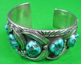 Vintage Navajo Native American Indian Sterling Silver Stone Bracelet Cuff