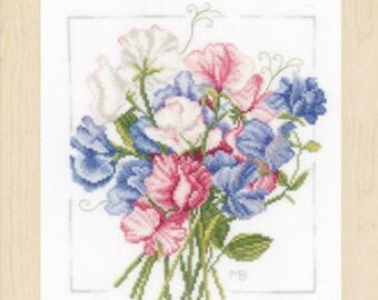 LANARTE embroidery pack, complete pack cross stitch, Colourful Bouquet, PN-0157497