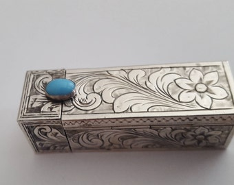 Vintage Lipstick Holder & Mirror 800 Italian Silver and Turquoise Stone Birthday Wedding Day Gift