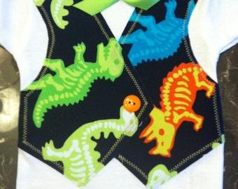 Dinosaur Baby Onesie Vest with Bow Tie