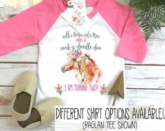 Second Birthday, With a NEIGH and a Moo, Farm Birthday, Oink Moo Turning Two, 2nd Birthday, Horse Shirt, Boho Birthday, Girl Birthday SHIRT