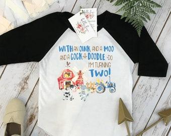 Second Birthday, With an Oink and a Moo, Farm Birthday, Oink Moo Turning Two, 2nd Birthday, Farm Shirt, Farm Party Theme, Boy Birthday Shirt