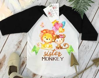 Monkey Birthday Shirt, Monkey Birthday, Sister Birthday shirt, Safari Party, Zoo Party, Monkey Party, Birthday Monkey, Safari Birthday set