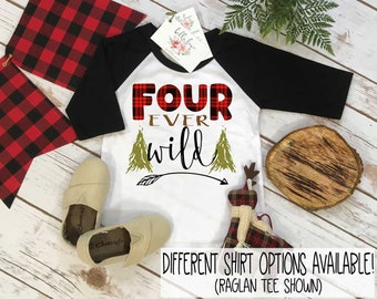 Fourth Birthday Shirt, Lumberjack Birthday, 4th Birthday shirt, Buffalo Plaid Party, Lumberjack Party, Woodland Party Set, Four Ever Wild