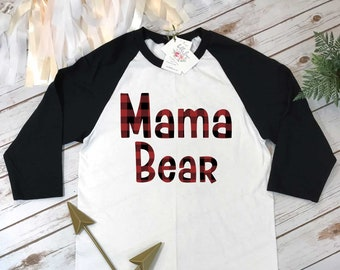 Mama Bear, Mommy and Me shirts, Mommy and Me Outfits, Buffalo Plaid Shirt, Mom Shirts, Family Outfits,Baby Shower Gift for Mom, Baby Shower