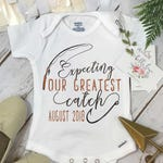 Fishing ONESIE®, Expecting our greatest catch, Pregnancy Reveal, Fishing Baby shirt, Baby Announcement, Fishing Daddy shirt,Baby Reveal prop