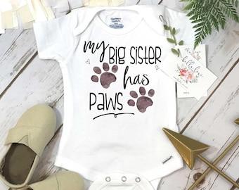 My Big Sister Has Paws, Pregnancy Announcement, Dog Shirt, Pregnancy Reveal, Baby Reveal, Baby Announcement, Fur Baby Bodysuit, Cat Shirt,