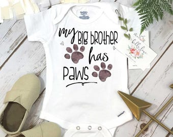 My Big Brother Has Paws, Pregnancy Announcement, Dog Shirt, Pregnancy Reveal, Baby Reveal, Baby Announcement, Fur Baby Bodysuit, Cat Shirt,