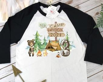 Happy Camper Shirt, Third Birthday, Happy Camping, One Happy Camper, 3rd Birthday, Camping Shirt, Camping Party,Camping Birthday, Bear Party