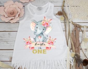 First Birthday, Elephant Theme, Birthday Dress, 1st Birthday, Personalized Birthday Dress, Girl Birthday, Birthday Shirt, Best Seller