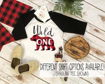 First Birthday Shirt, Lumberjack Birthday, 1st Birthday shirt, Buffalo Plaid Party, Lumberjack Party, Wild One Bear Party, Wild One Birthday