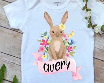 Baby's First Easter, Custom Easter Baby Shirt, Spring Bunny bodysuit, Personalized Easter,  Baby Shower Gift, Custom Baby Gift, Easter Bunny