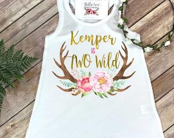 Two Wild, Girl Birthday Dress, Personalized Birthday, 2nd Birthday, Fringe Birthday Dress, Boho Birthday, Girl Birthday Set, Deer Birthday,