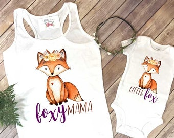 Mommy and Me Shirts, Foxy Mama, Little Fox, Mommy and Me Outfits, Family Shirts, Baby Shower Gift,Mom and Daughter Set, Mommy and Me Shirt