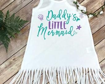 Little Mermaid, Daddys Little Mermaid, Mermaid Baby Shirt, Beach Baby, Summer Baby Dress, Baby Shower Gift, Baby Fringe Dress, Mermaid Shirt