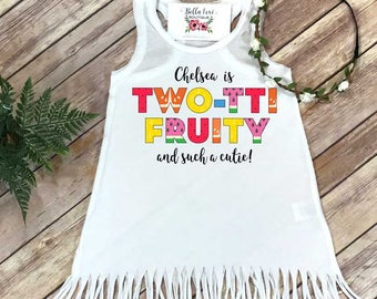 Second Birthday, Twotti Fruity, Birthday Dress, 2nd Birthday, Tutti Frutti party, Personalized Birthday Dress, Girl Birthday,Custom Birthday