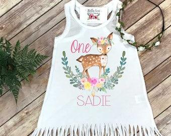 First Birthday, Wild One, Girl Birthday Dress, Personalized Birthday, 1st Birthday, Fringe Birthday Dress, Boho Birthday, Deer Birthday,Girl