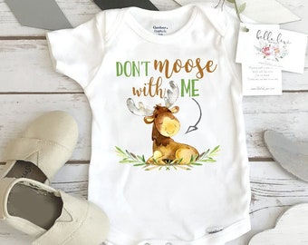 Baby Shower Gift, Moose Onesie®, Don't Moose With Me, Newborn Gift, Nephew Gift, Woodland Theme, Baby Boy Gift, Baby Girl Gift, Nephew Gifts