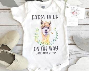 Farm Help on the Way, Pregnancy Announcement, Alpaca Farm, Pregnancy Reveal, Llama Onesie®, Country Baby, Ranch Help Coming, Tractor, Llama