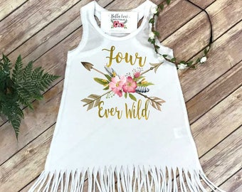 Fourth Birthday, Four Ever Wild, Girl Birthday Dress, 4th Birthday, Fringe Birthday Dress, Boho Birthday, Girl Birthday Shirt, For Ever Wild