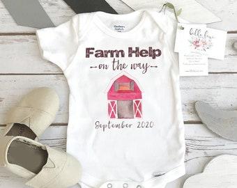 Farm Help on the Way, Pregnancy Announcement, Farm Baby, Pregnancy Reveal Onesie®, Farm shirt, Country Baby, Expecting Farm shirt, Baby Due