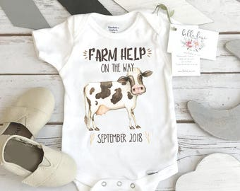 Farm Help on the Way, Pregnancy Announcement, Dairy Farm Baby, Pregnancy Reveal, Cow Onesie®, Country Baby, Expecting Farm shirt, Baby Due
