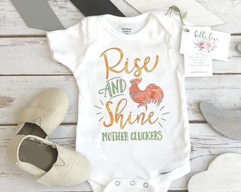 Baby Shower Gift, Rise and Shine Mother Cluckers, Country Baby, Farm Onesie®, Rooster shirt, Cute Baby Clothes, Nephew Gift,Cute Boy Clothes