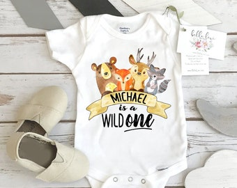 First Birthday Onesie®, Woodland Birthday, Wild ONE, Woodland Animal Birthday, Woodland Party, 1st Birthday Shirt, Boy Birthday Party Ideas