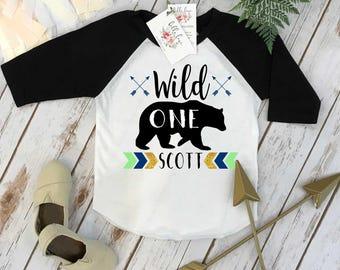 First Birthday Shirt, WILD ONE Birthday, 1st Birthday shirt, Woodland Bear Party, Woodland Party, Woodland Party Set, Chevron and Arrows