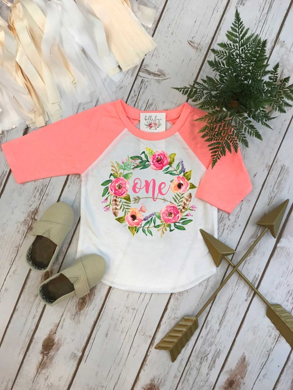 First Birthday Shirt Floral Wreath One Baby