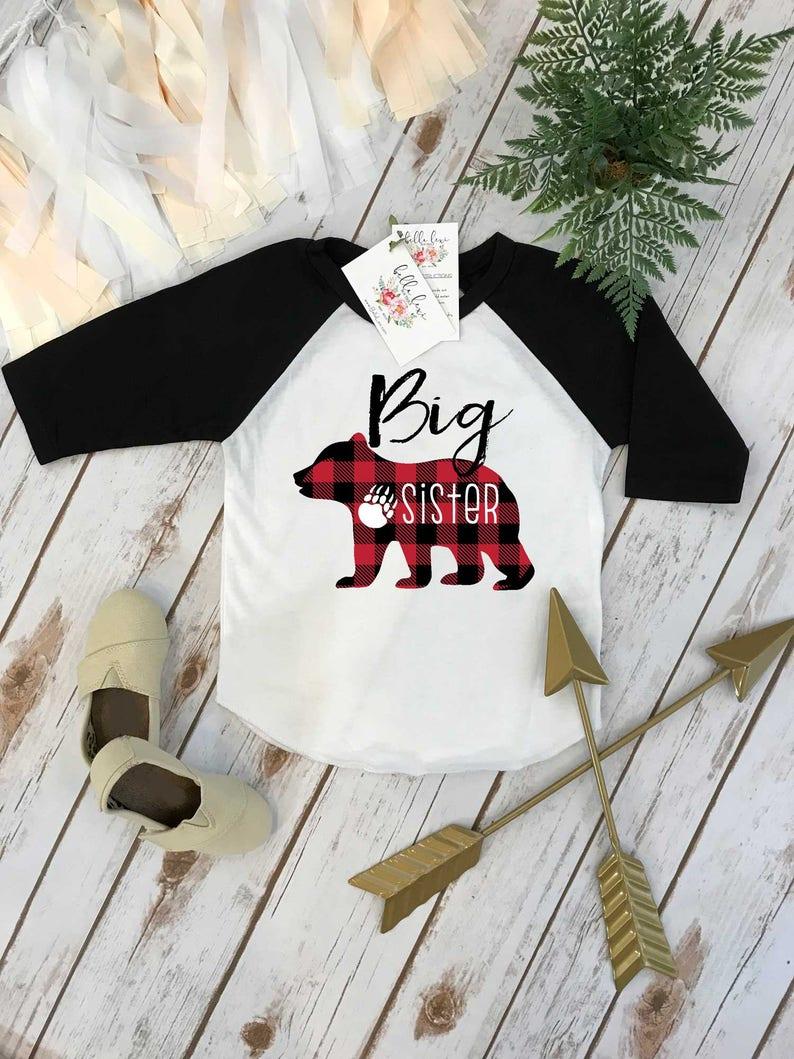 Big Sister Shirt Buffalo Plaid Bear Sisters Shirts Big image 0