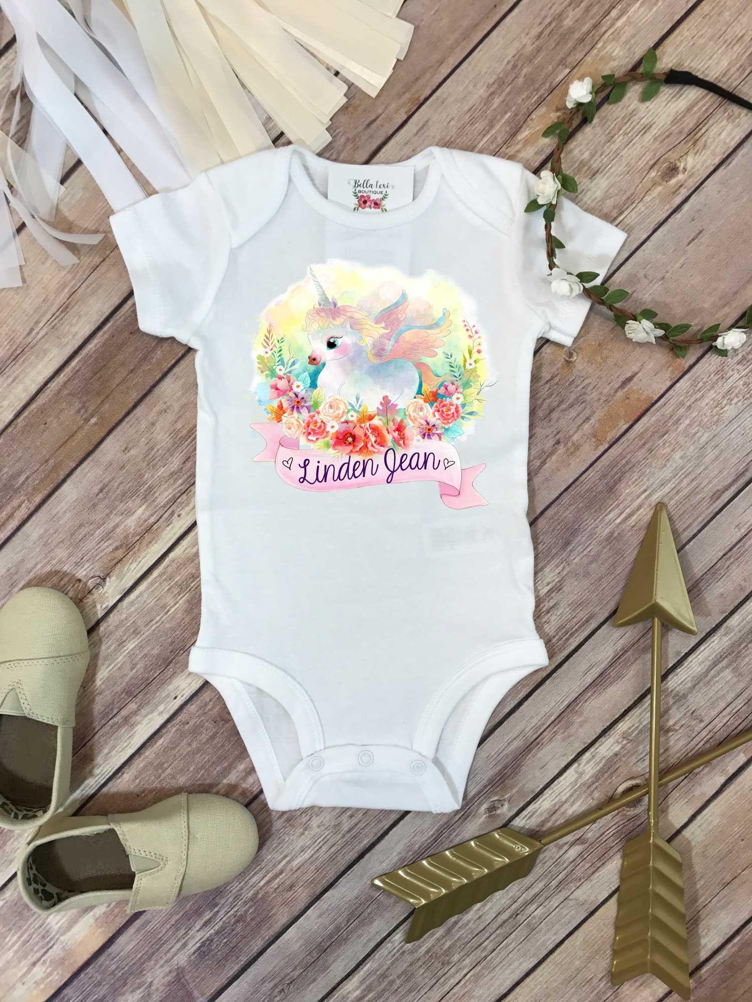 Baby Shower Gift, Unicorn Shirt, Personalized Baby Gift, Custom Baby Gift, Unicorn Bodysuit, Niece Gift, Cute Girl Clothes, Unicorn Theme