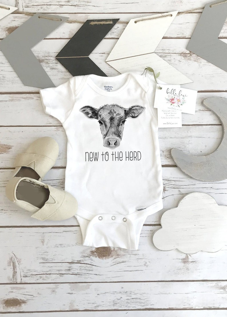 Baby Shower Gift NEW TO the HERD Country Baby Farm shirt image 0