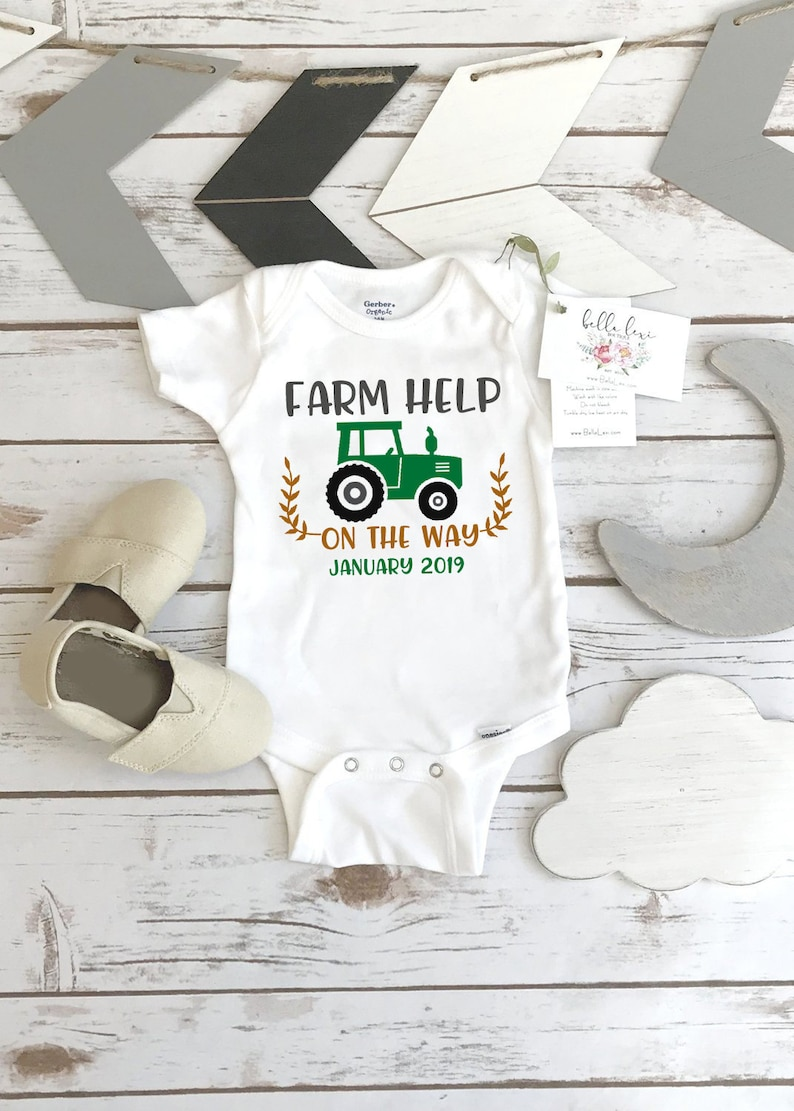 Farm Help on the Way Pregnancy Announcement Dairy Farm Baby image 0