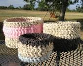 Set of 3 crocheted nesting bowls