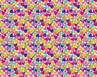 Makower.UK Katie s Cats Ditzy Hearts Hearts gold