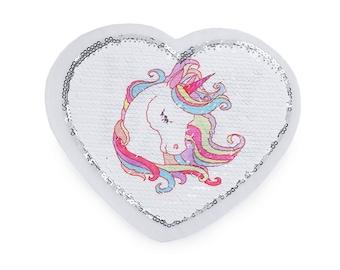 Patch Sequin heart Unicorn Reversible sequins