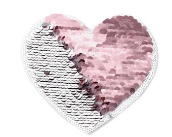 Patch Sequin heart big Reversible sequins