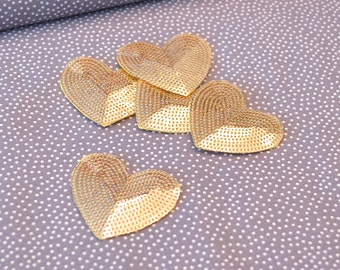 Ironing image / Patch heart sequins gold
