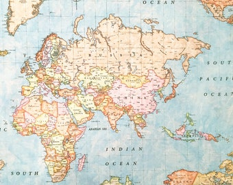Decoration Fabric World Map Map