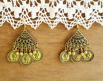 Vintage style Fashion Coin Earrings, Retro Earrings, Coin Earrings, Boho Earrings
