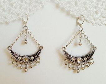Boho Earrings, Retro Earrings, Bohemian Earrings, Dangle Earrings, Moon Earrings