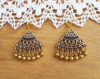 Vintage style Fashion Coin Earrings, Boho Coin Earrings, Retro Earrings