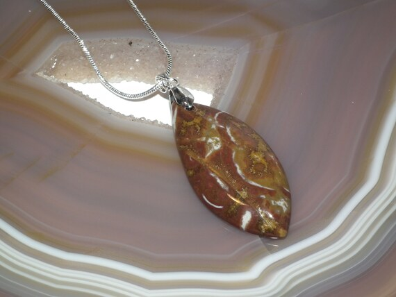 20 Chunky Natural Red Jasper Gemstone Necklace with Silver Plated Findings