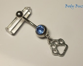 Paw belly piercing! Paw print charm navel piercing. With light blue gem. Animal spirit fashion. For animal lovers! Comes with silver hooks