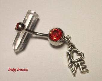 Beautiful LOVE belly piercing. Show your love, heart charm. For her. Valentines day. Red romance gems. 14 gauge