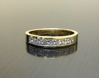 14K Yellow Gold Princess Cut Diamond Engagement Band - Princess Cut Diamond Wedding Band - 14K Gold Diamond Band - Diamond 14K Gold Band