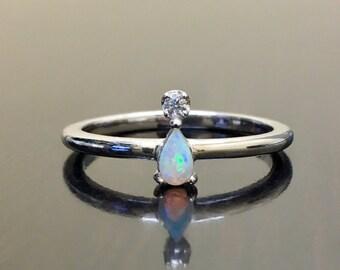 14K White Gold Diamond Opal Engagement Ring - Gold Diamond Opal Wedding Ring - 14K Diamond Pear Shape Opal Ring - 14K Gold Opal Diamond Ring