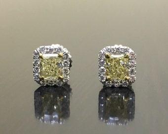 Art Deco Yellow Diamond Earrings - 14K White Gold Radiant Diamond Stud Earrings - Fancy Yellow Diamond Halo Earrings - Halo Diamond Studs